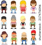 set of cute character icons in... | Shutterstock .eps vector #217476046
