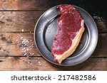 Raw Steak On Vintage Metal...
