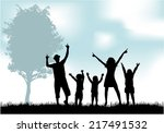 family silhouettes | Shutterstock .eps vector #217491532