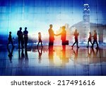 silhouettes of business people... | Shutterstock . vector #217491616