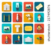 museum icons flat set of sign... | Shutterstock .eps vector #217492876