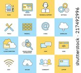 web flat line icons set... | Shutterstock .eps vector #217492996