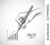 hand drawing business graph... | Shutterstock .eps vector #217493032