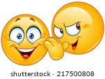 yellow emoticon telling a... | Shutterstock .eps vector #217500808