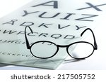 Small photo of Concept of vision and eyesight with an old vintage pair of spectacles or glasses on an optometrists chart with alphabet letters for testing acuity