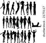atractive girls   silhouette... | Shutterstock .eps vector #2175117
