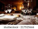 empty glasses in restaurant.... | Shutterstock . vector #217525666