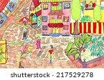 city street  a children's... | Shutterstock . vector #217529278