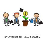 one businessman watering a...   Shutterstock .eps vector #217530352