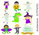 halloween set with cute... | Shutterstock .eps vector #217576552