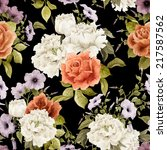 seamless floral pattern with ... | Shutterstock . vector #217587562