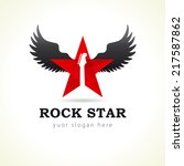 rock star or band fly logo... | Shutterstock .eps vector #217587862