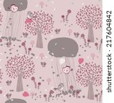 Seamless Pink Forest Pattern