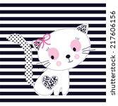 adorable white cat girl striped ... | Shutterstock .eps vector #217606156