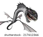a snake dragon lunges at you... | Shutterstock . vector #217612366