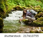 young european woman hiker by... | Shutterstock . vector #217613755