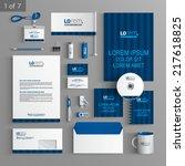 blue stationery template design ...   Shutterstock .eps vector #217618825