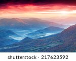 dramatic autumn sunset in the... | Shutterstock . vector #217623592