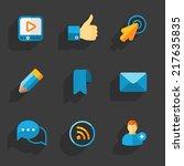 modern colorful flat social... | Shutterstock .eps vector #217635835