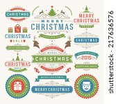 christmas decoration vector... | Shutterstock .eps vector #217636576