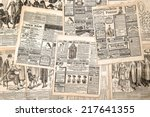 newspaper pages with antique... | Shutterstock . vector #217641355