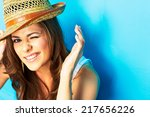 funny woman portrait on blue... | Shutterstock . vector #217656226