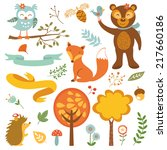 cute forest animals colorful... | Shutterstock .eps vector #217660186
