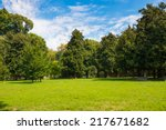 Green Lawn With Trees In Park...