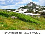 Snowy Range Mountains and alpine lake in Medicine Bow, Wyoming in summer - stock photo