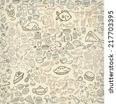 doodle food icons seamless... | Shutterstock .eps vector #217703395