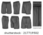 men's black sport shorts  front ... | Shutterstock .eps vector #217719502