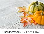 pumpkins with orange and red... | Shutterstock . vector #217741462