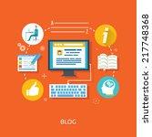 blogging concept in flat design ... | Shutterstock .eps vector #217748368