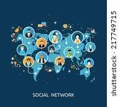 social media network connection ... | Shutterstock .eps vector #217749715