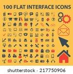 100 flat interface  mobile ... | Shutterstock .eps vector #217750906
