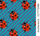 ladybird bug flat style pattern.... | Shutterstock .eps vector #217772488