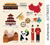 china flat icons design travel... | Shutterstock .eps vector #217783372