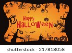 halloween border background ... | Shutterstock .eps vector #217818058