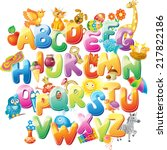 alphabet for kids with pictures | Shutterstock .eps vector #217822186