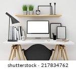 modern workspace template mock... | Shutterstock . vector #217834762