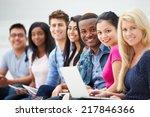 portrait of university students ... | Shutterstock . vector #217846366