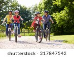 hispanic family on cycle ride... | Shutterstock . vector #217847542