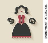 oktoberfest girl with beer mug... | Shutterstock .eps vector #217859536