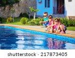 three beautiful children run a... | Shutterstock . vector #217873405