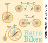 vintage retro bicycle | Shutterstock .eps vector #217877242