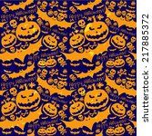 halloween grunge vector pattern ... | Shutterstock . vector #217885372