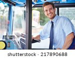 portrait of bus driver behind... | Shutterstock . vector #217890688