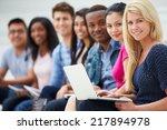 portrait of university students ...   Shutterstock . vector #217894978