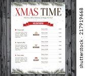 special christmas festive menu... | Shutterstock .eps vector #217919668