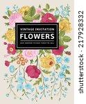 vertical invitation. vintage... | Shutterstock .eps vector #217928332